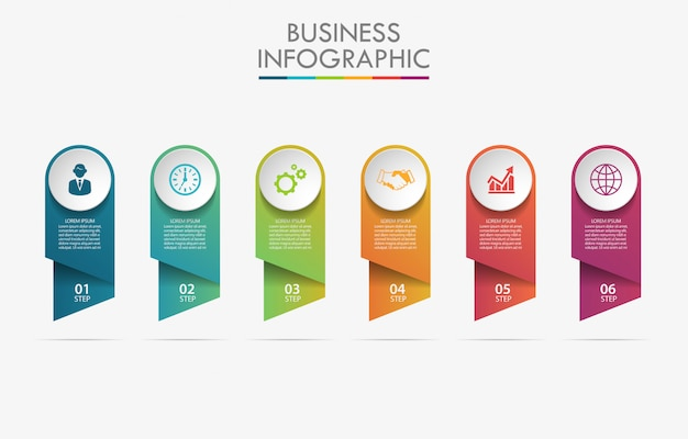 6つのオプションを持つプレゼンテーションビジネスインフォグラフィックテンプレート。 Premiumベクター