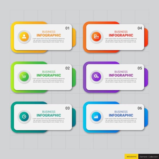 Современный бизнес инфографики 6 вариантов Premium векторы