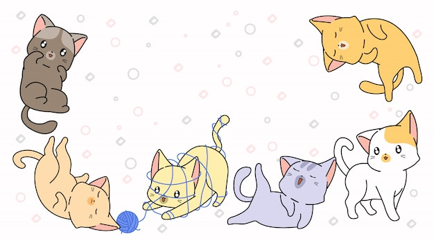 6漫画の小さな猫 Premiumベクター