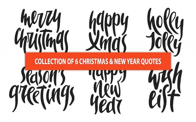 Набор из 6 рождественских и новогодних векторных типографиек Premium векторы