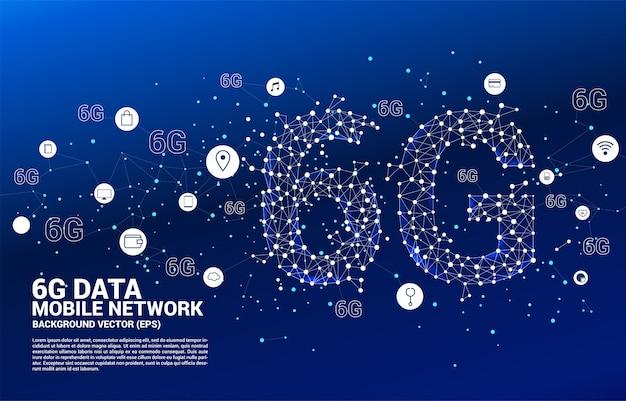 ベクトルポリゴンドットは、線の形をした6gモバイルネットワークを機能アイコンで接続します Premiumベクター
