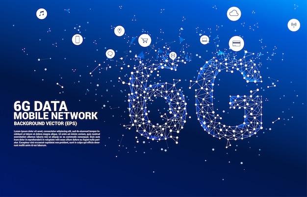 ベクトルポリゴンドットは、線状の6gモバイルネットワークを接続します。携帯電話データ技術のコンセプト。 Premiumベクター