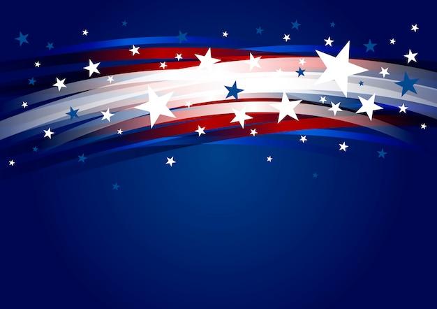 ライングラデーションと7月4日独立記念日の星4の抽象的なアメリカの背景デザイン Premiumベクター