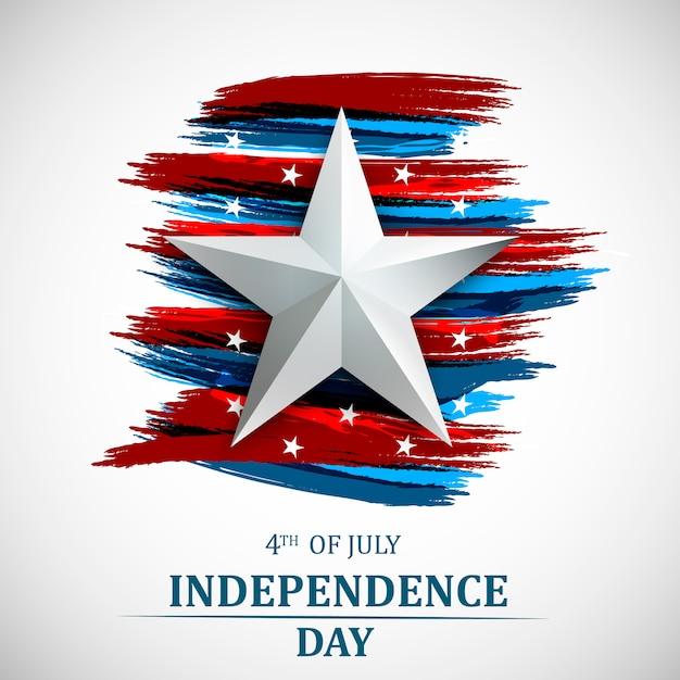 7月4日、アメリカ独立記念日。 7月4日のグリーティングカード。 Premiumベクター