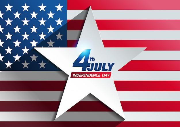 7月4日の独立記念日の背景 Premiumベクター