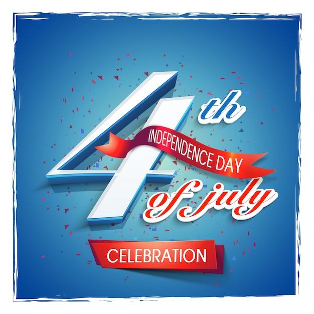 7月4日のテキスト、赤いリボンと光沢のある青色の背景。アメリカ独立記念日の創造的なポスター、バナーまたはチラシのデザイン。 無料ベクター
