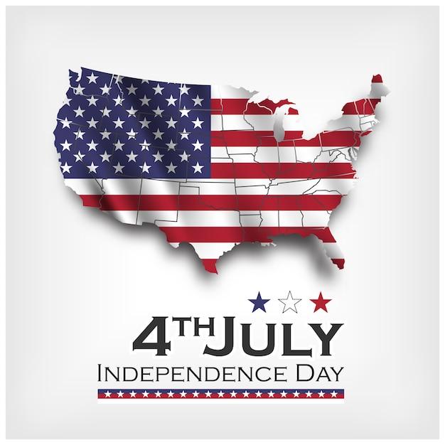 アメリカ地図と旗を振っています。アメリカ独立記念日7月4日。ベクトル Premiumベクター