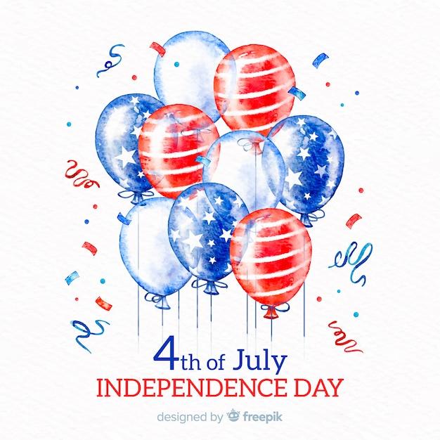 7月4日 - 風船での独立記念日の背景 無料ベクター