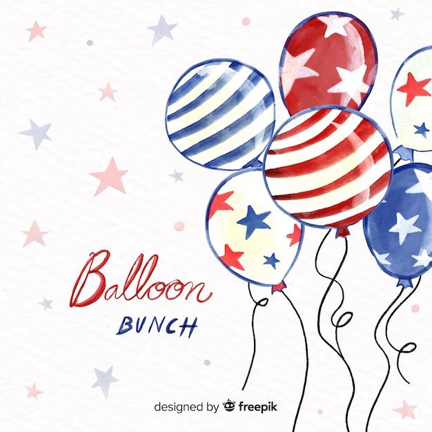 水彩画の7月4日 - 独立記念日の背景と風船 無料ベクター