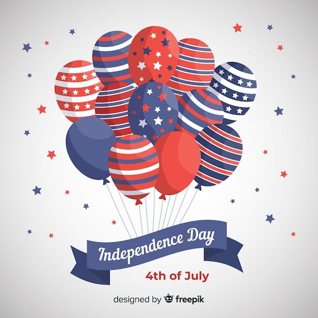 7月 - 風船で独立記念日の背景の平らな第4回 無料ベクター