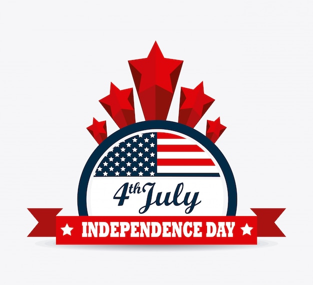 アメリカのデザイン独立記念日7月4日 無料ベクター