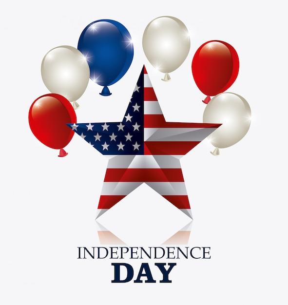 ハッピー独立記念日7月4日米国デザイン 無料ベクター