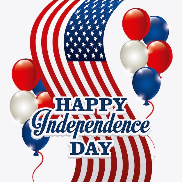 ハッピー独立記念日グリーティングカード、7月4日、アメリカのデザイン 無料ベクター