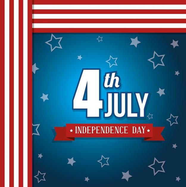 アメリカ合衆国ハッピー独立記念日、7月4日のお祝い 無料ベクター