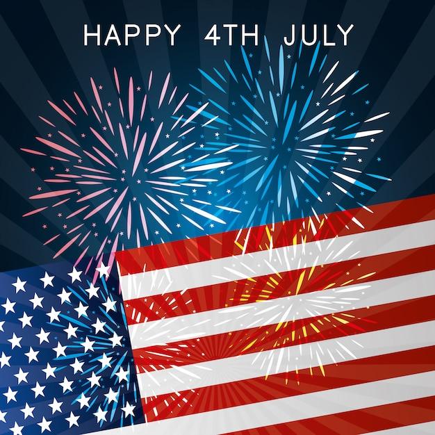 ハッピー独立記念日7月4日アメリカのお祝い 無料ベクター