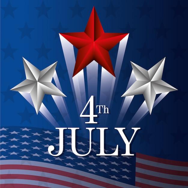 7月4日独立記念日アメリカのお祝い 無料ベクター
