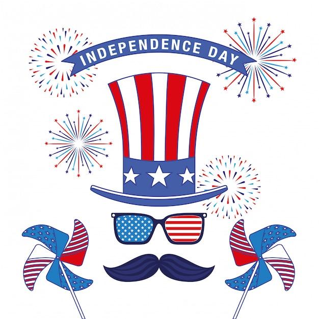 7月4日の幸せ独立記念日カード Premiumベクター