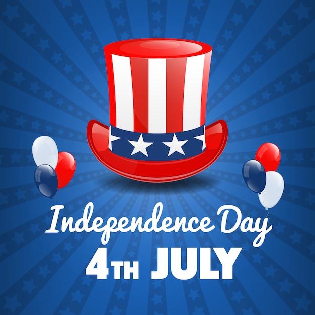 アメリカ独立記念日。 7月4日のアメリカの祝日。独立記念日 Premiumベクター