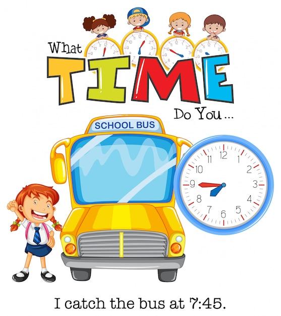 女の子が7:75にバスに乗る 無料ベクター