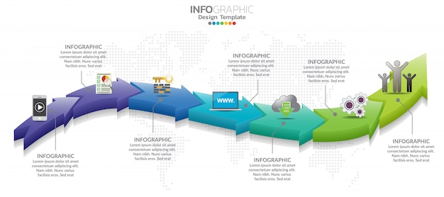 7 parts infographic design and marketing icons can be used for workflow layout Premium Vector