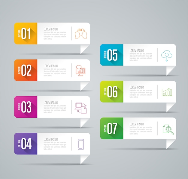 7 steps business infographic elements for the presentation Premium Vector