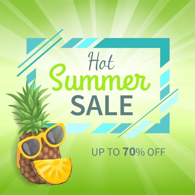 暑い夏のセール最大70パーセントのプロモーションバナー Premiumベクター