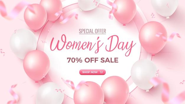 女性の日特別オファー。白いフレーム、ピンクと白の気球、バラ色の紙吹雪が落ちてくるセールバナーが70%オフ。女性の日テンプレート。 Premiumベクター