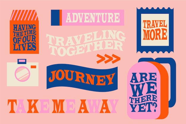 70s style travel sticker collection Free Vector