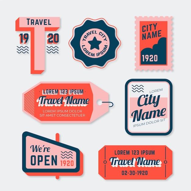 70s style travel sticker set Free Vector