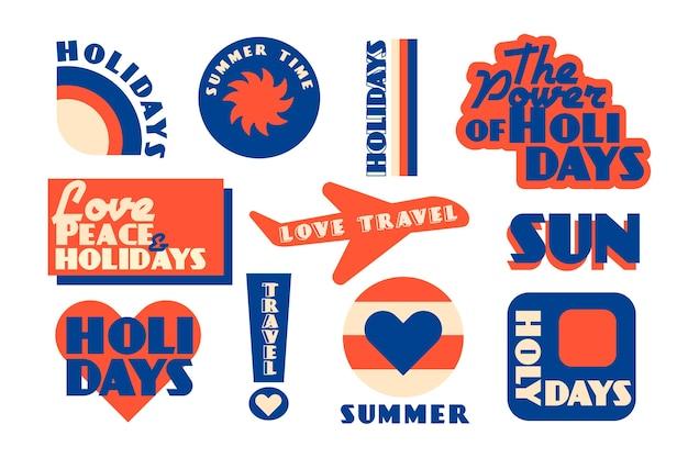 Set di adesivi da viaggio in stile anni '70 Vettore gratuito