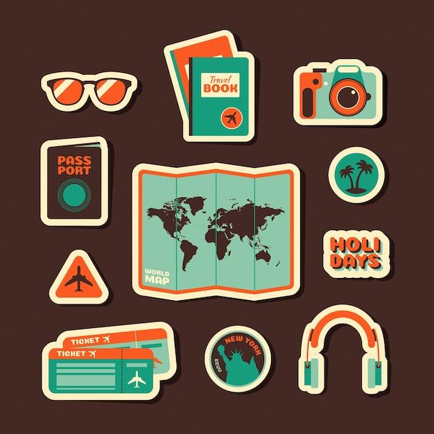 Набор наклеек для путешествий в стиле 70-х годов Бесплатные векторы