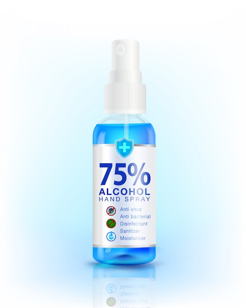 75% alcohol hand sanitizer spray dispenser. antibacterial effect, best protection against coronavirus (covid-19) used as a disinfectant product mock up, advertisement, cleanser, package design. Premium Vector