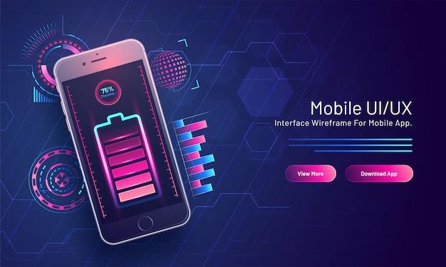 75% процентная зарядка аккумулятора в изометрическом смартфоне по высокотехнологичной схеме для целевой страницы на основе мобильного интерфейса пользователя / ux. Premium векторы