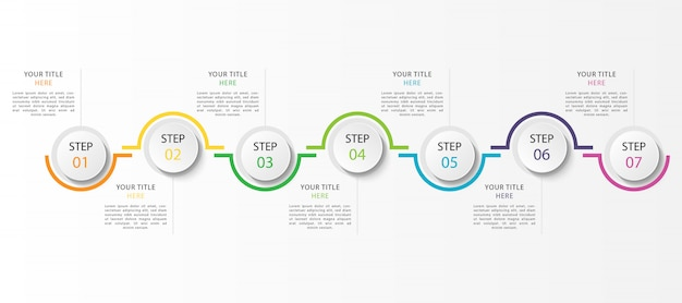 7つのステップまたはオプションのビジネスインフォグラフィック Premiumベクター