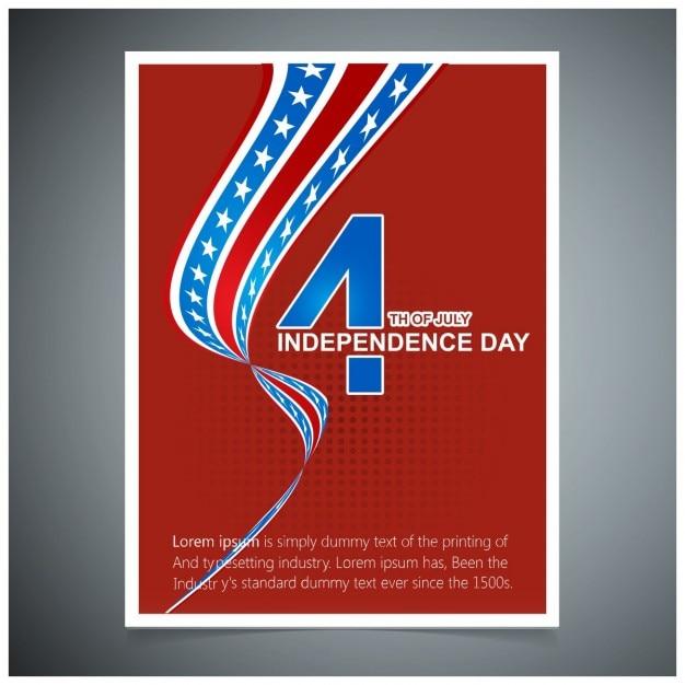 7月アメリカ独立の日のグリーティングカードの赤い背景四 無料ベクター