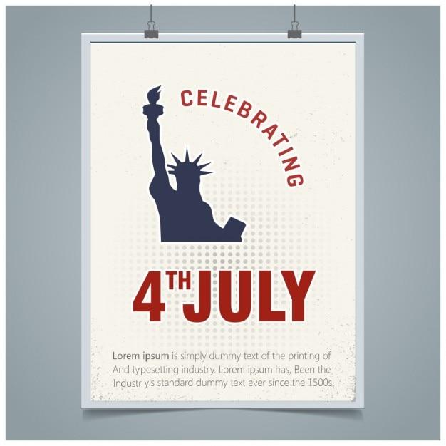 7月アメリカ独立の日のグリーティングカードの第四 無料ベクター