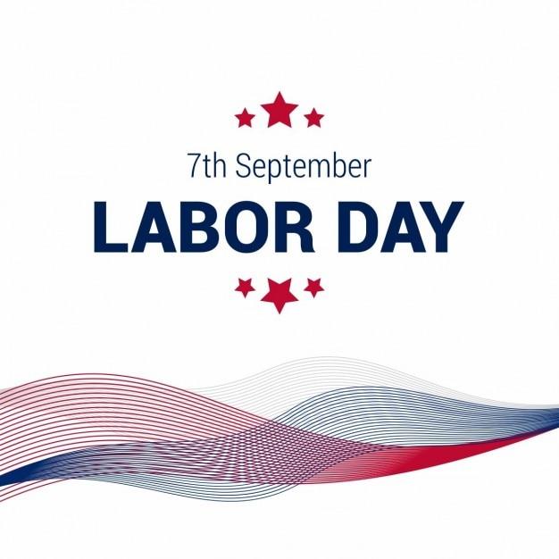 Счастливые 7-й день труда сентябрь абстрактные линии с американским флагом Бесплатные векторы