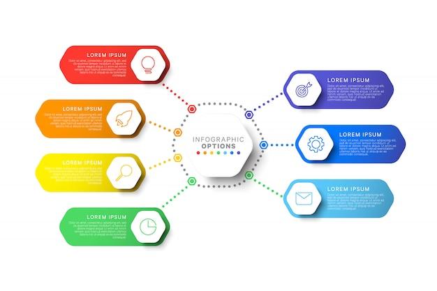 六角形の要素を持つシンプルな7つのステップレイアウトインフォグラフィックテンプレート Premiumベクター