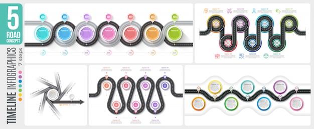 Навигационная карта 7 шагов временной шкалы инфографики концепции Premium векторы