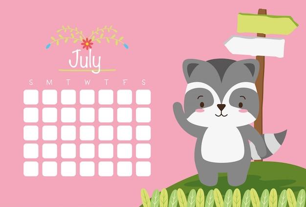 7月、動物カレンダーのかわいいアライグマ 無料ベクター