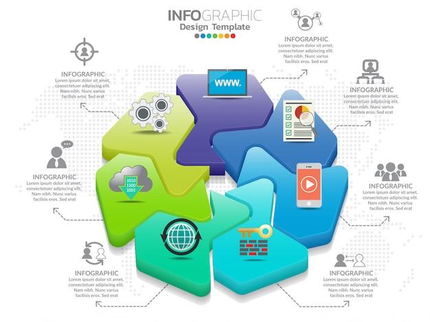 7部品のインフォグラフィックデザインベクトルとマーケティングアイコン。 Premiumベクター