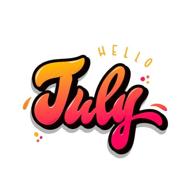 手レタリング引用「こんにちは7月」 Premiumベクター