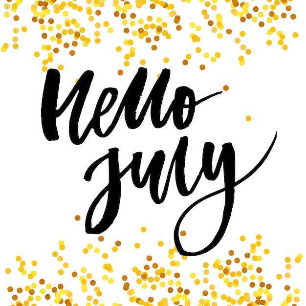 こんにちは7月フレーズレタリング Premiumベクター
