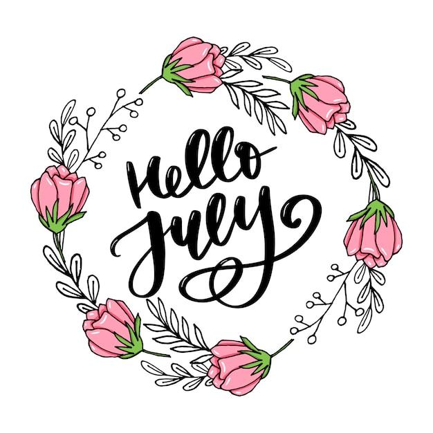 こんにちは7月レタリングカード Premiumベクター