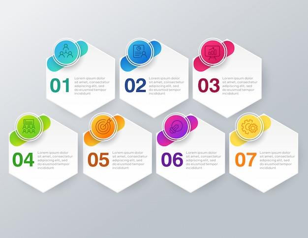 7つのステップまたはオプションを持つビジネスインフォグラフィック Premiumベクター