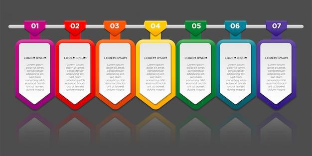Инфографики с эффектом градиента и тени бумаги 7 вариантов или шагов. инфографика бизнес-концепция. Premium векторы