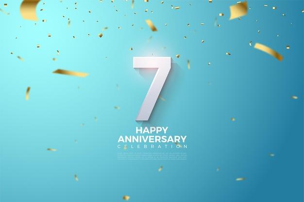7-я годовщина с трехмерной иллюстрацией цифр на небесно-голубом фоне. Premium векторы