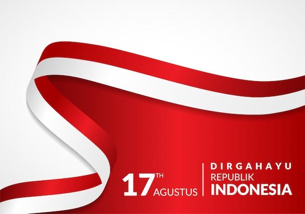 8月17日。インドネシアハッピー独立記念日のグリーティングカード Premiumベクター