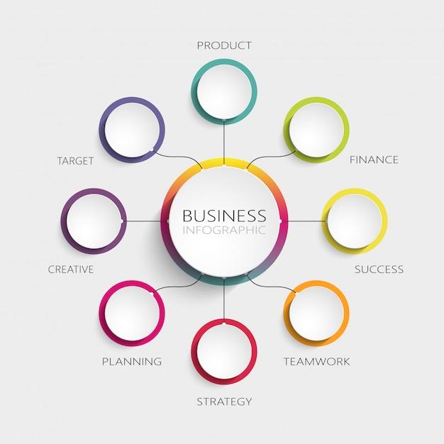 成功のための8つのステップを持つモダンな抽象的な3 dインフォグラフィックテンプレート Premiumベクター