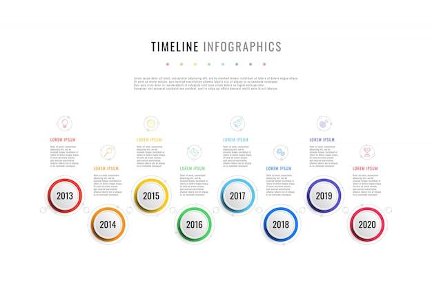 Горизонтальный бизнес график с 8 круглыми элементами, текстовые поля индикации года на белом фоне. реалистичные 3d за разрез инфографики. шаблон презентации слайдов современной компании. Premium векторы